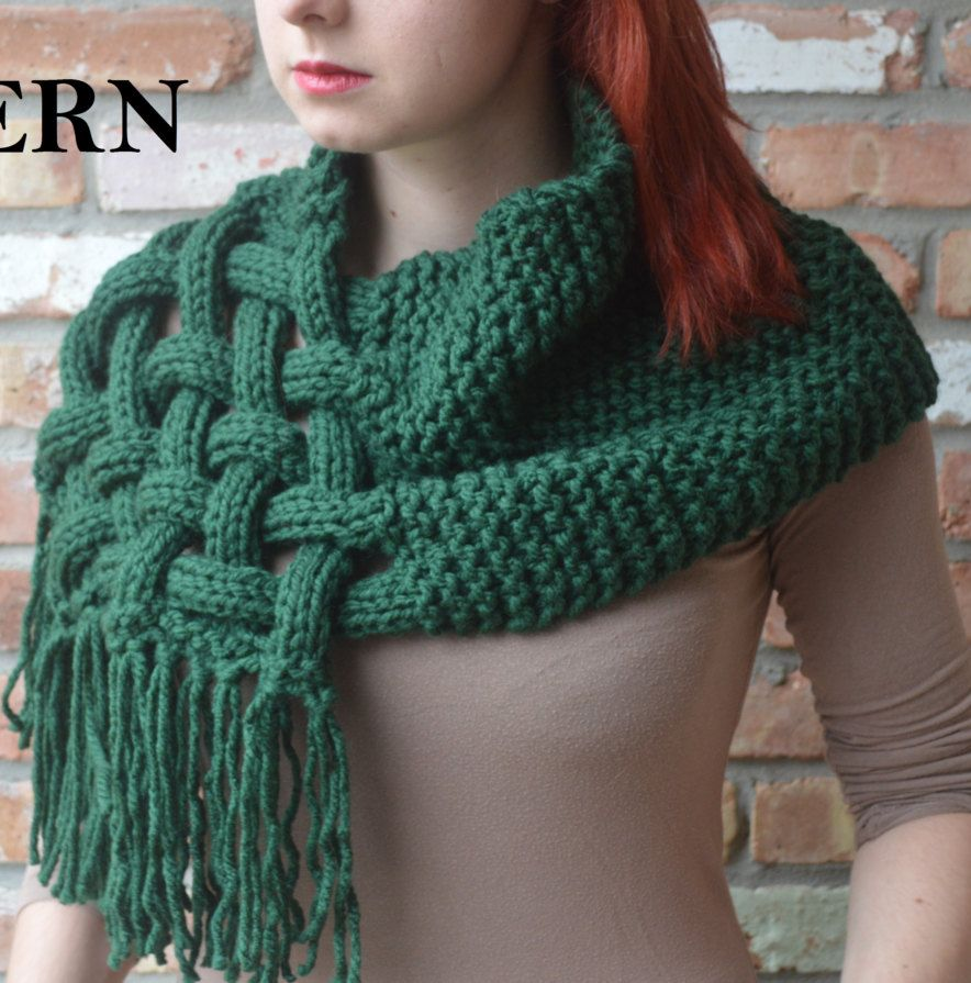 Knitting Pattern for Celtic Woven Scarf Wishlist Pinterest Hooded cowl,...