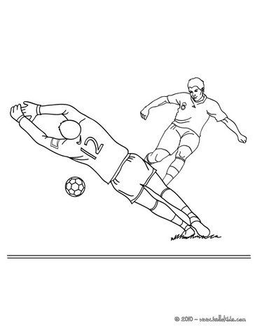 Soccer player scoring a penalty coloring page. More sports