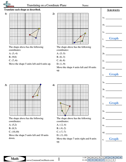 Grid Worksheets Translating On A Coordinate Plane Worksheet Coordinate Plane Worksheets