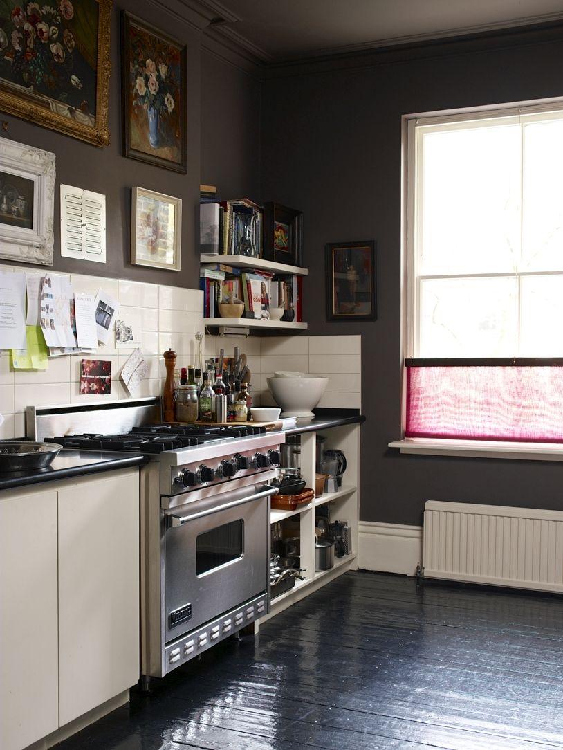 Dark kitchen. Gallery wall.