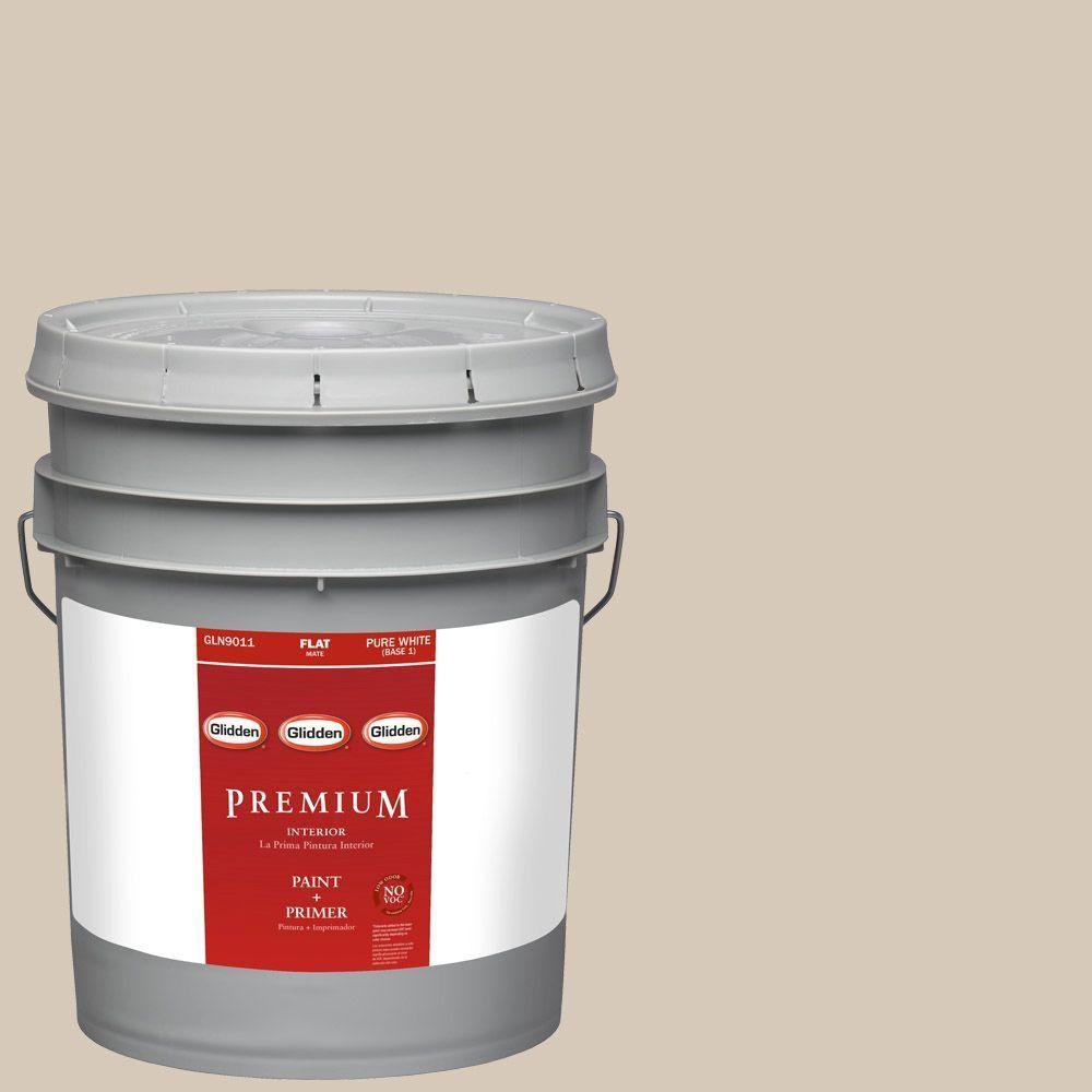 Glidden Premium 5-gal. #HDGWN06D Buffed Tan Flat Latex Interior Paint with Primer