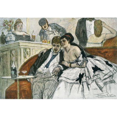 The Drunken Dandy after Felicien Rops From Illustrierte Sittengeschichte vom Mittelalter bis zur Gegenwart by Eduard Fuchs published 1909 Canvas Art - Ken Welsh Design Pics (17 x 12)