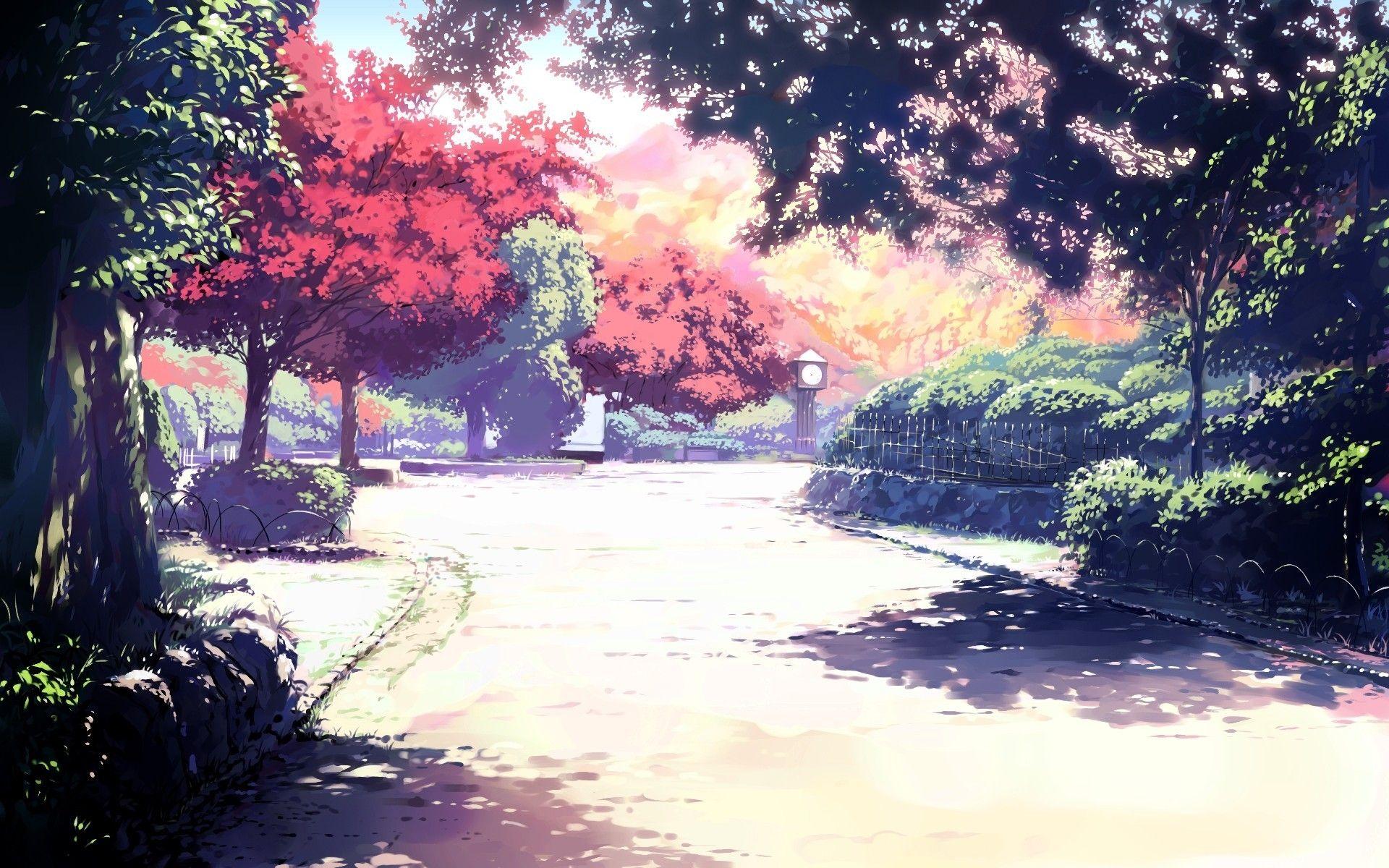 Summer Nature Trees Anime Artwork Natural Light Park Sunlight Wallpaper Anime Scenery Anime Scenery Wallpaper Scenery Wallpaper