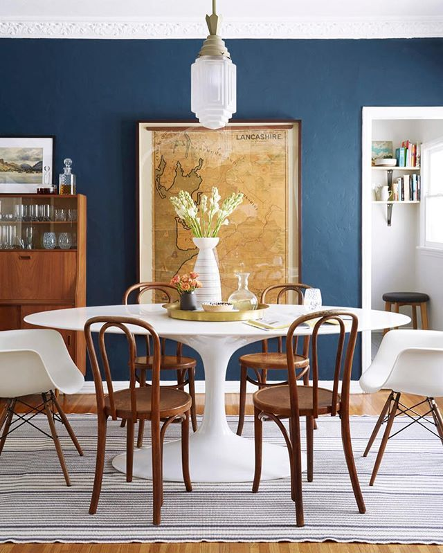 This Wall Color With Cherry Wood Furniture Stiffkey Blue Dining Room Reveal Happened Today On Em Mid Century Dining Room Eclectic Dining Dining Room Blue