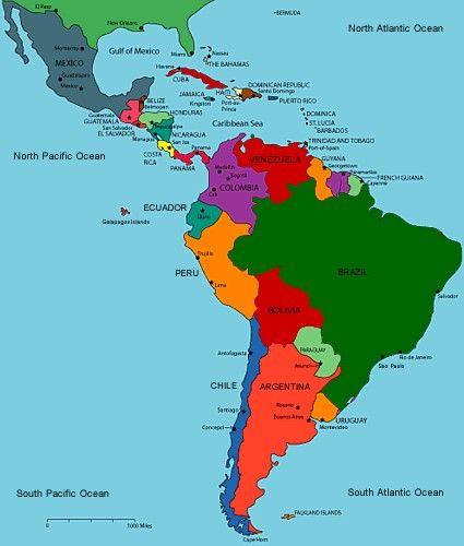 A map of Central and South America with the countrys from South
