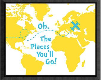 Oh the place youll go nursery map dr seuss quote print world map oh the place youll go nursery map dr seuss quote print world map nursery gumiabroncs Images