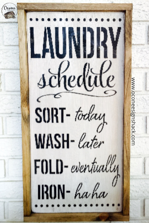 Laundry Schedule Rustic Wood Sign Funny Laundry Decor