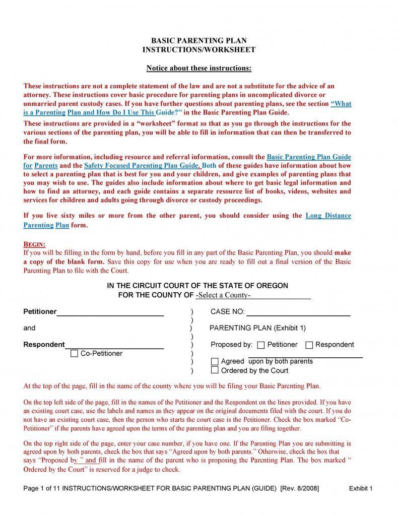 Download Parenting Plan Template 15 Parenting Plan Parenting Plan Custody Custody Agreement Template