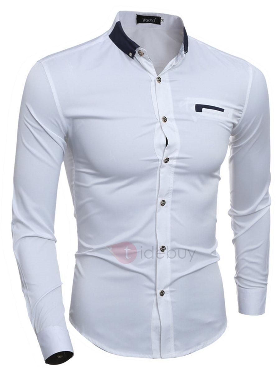Lapel Pocket Slim Mens Casual Shirt Men Wear Fashion Pinterest