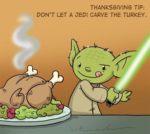 A turkey sliced by lightsaber!?! Yes, please!