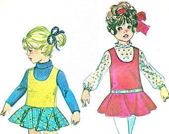 Girls Dress Pattern Blouse Simplicity 8523 Toddler Girls Dropped Waist Pinafore Dress Back Button Blouse 1960s Vintage Sewing Pattern B20