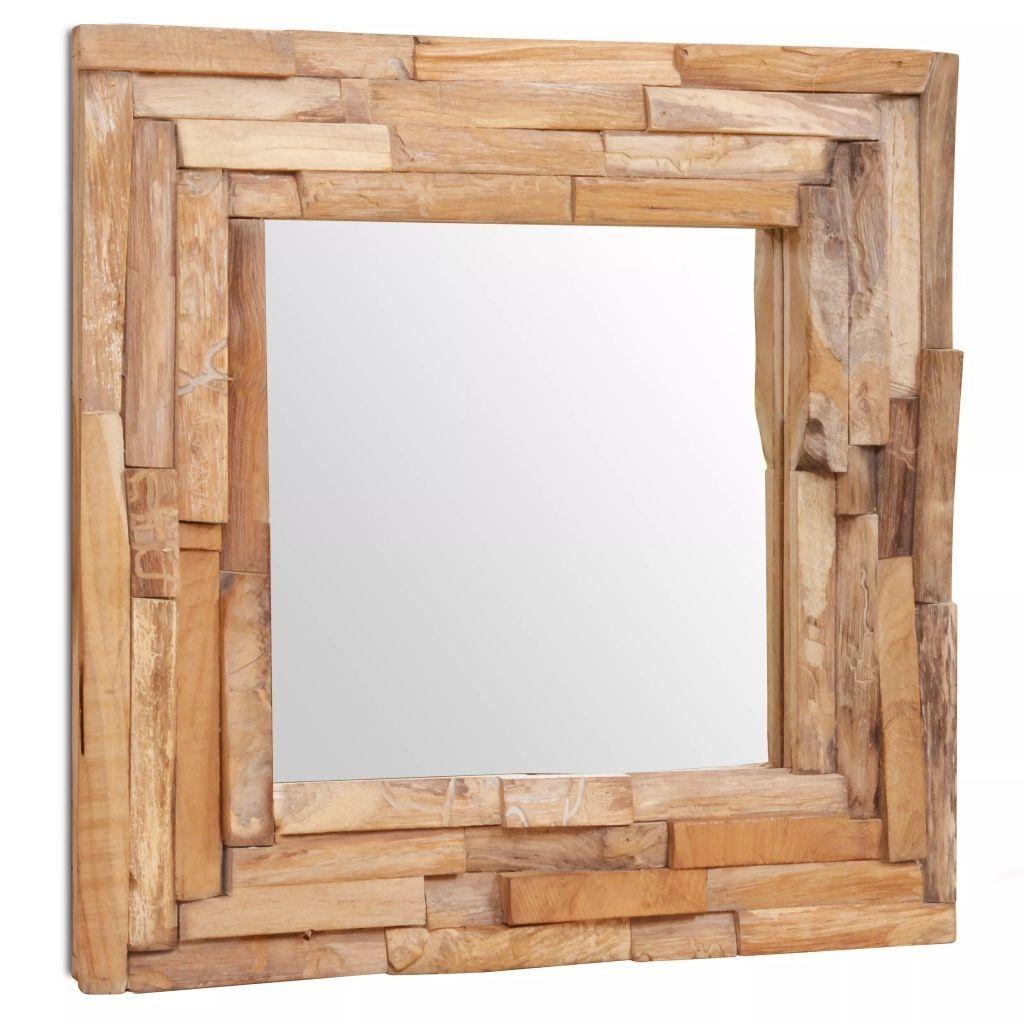 Decoratieve Spiegel Vierkant 60x60 Cm Teakhout Speelgoedfami