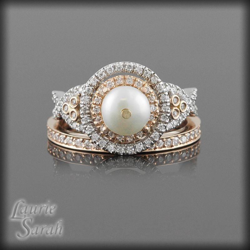 ring pearl wedding set - Pearl Wedding Ring Sets