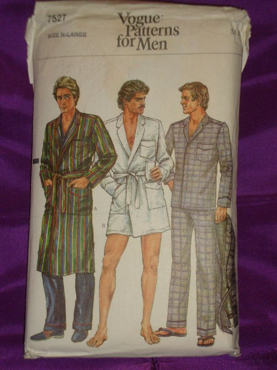 1980s 80s Vintage Mens Wrap Robe in 2 Lengths and Pajamas COMPLETE