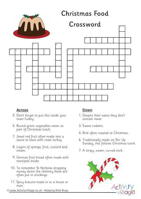 Christmas Food Crossword Christmas Christmas Crossword