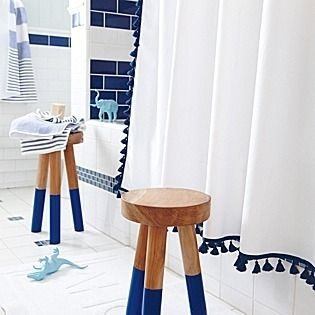 Tassel Shower Curtain In Navy By Serena Lily