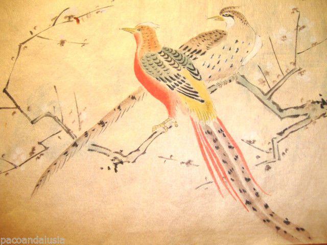 Tavolozza Disegno ~ Antico disegno giapponese su carta di riso velina fagiani