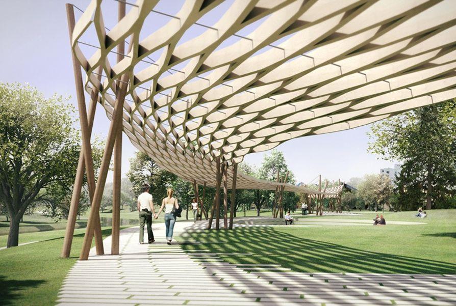 Proposed Mill River Park Pergola In Stamford Connecticut Gray Organschi Architecture Peyzaj Mimarisi Kanopi Peyzaj
