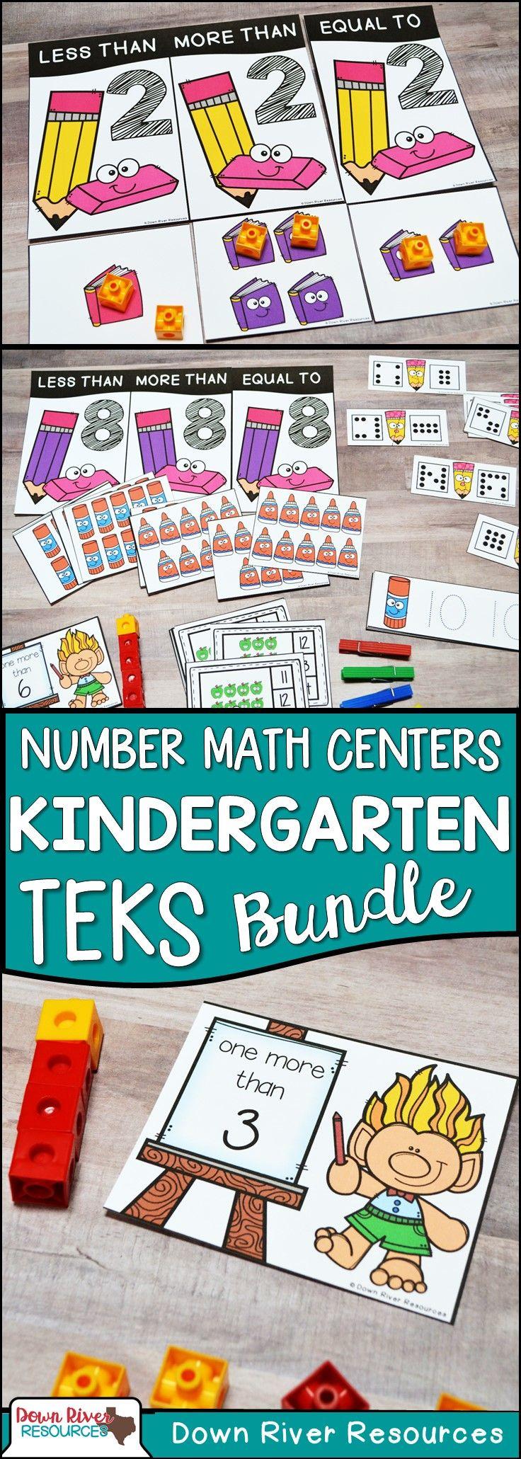 Kindergarten Whole Numbers 0-20 Math Centers Bundle (TEKS & CCSS ...