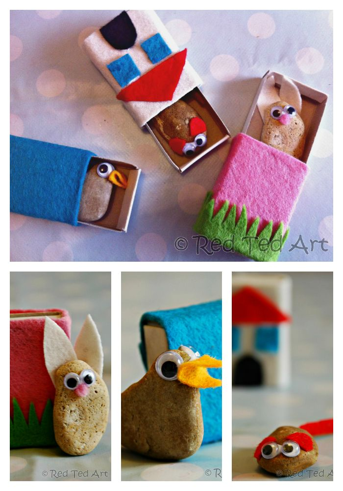 Little stone pets in matchbox homes. Pocket buddies, ideal for Back To School, as party crafts or as friendship gifts by redtedart #Kids #Crafts #Pockret_Buddies #redtedart