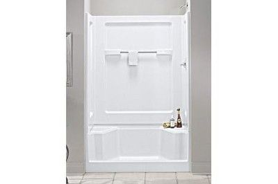 Sterling 48 Seated Shower Stall Enclosure Kit White Base Wall