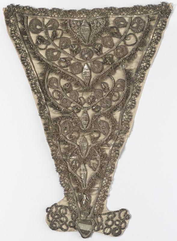 Stomacher, first half 18th century. Silk with metallic thread embroidery.