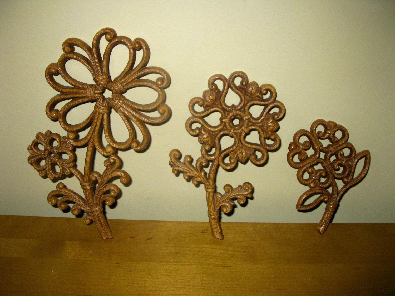 70s Homco flowers - set of 3 - wood grain - 1978 - Dart Industries ...