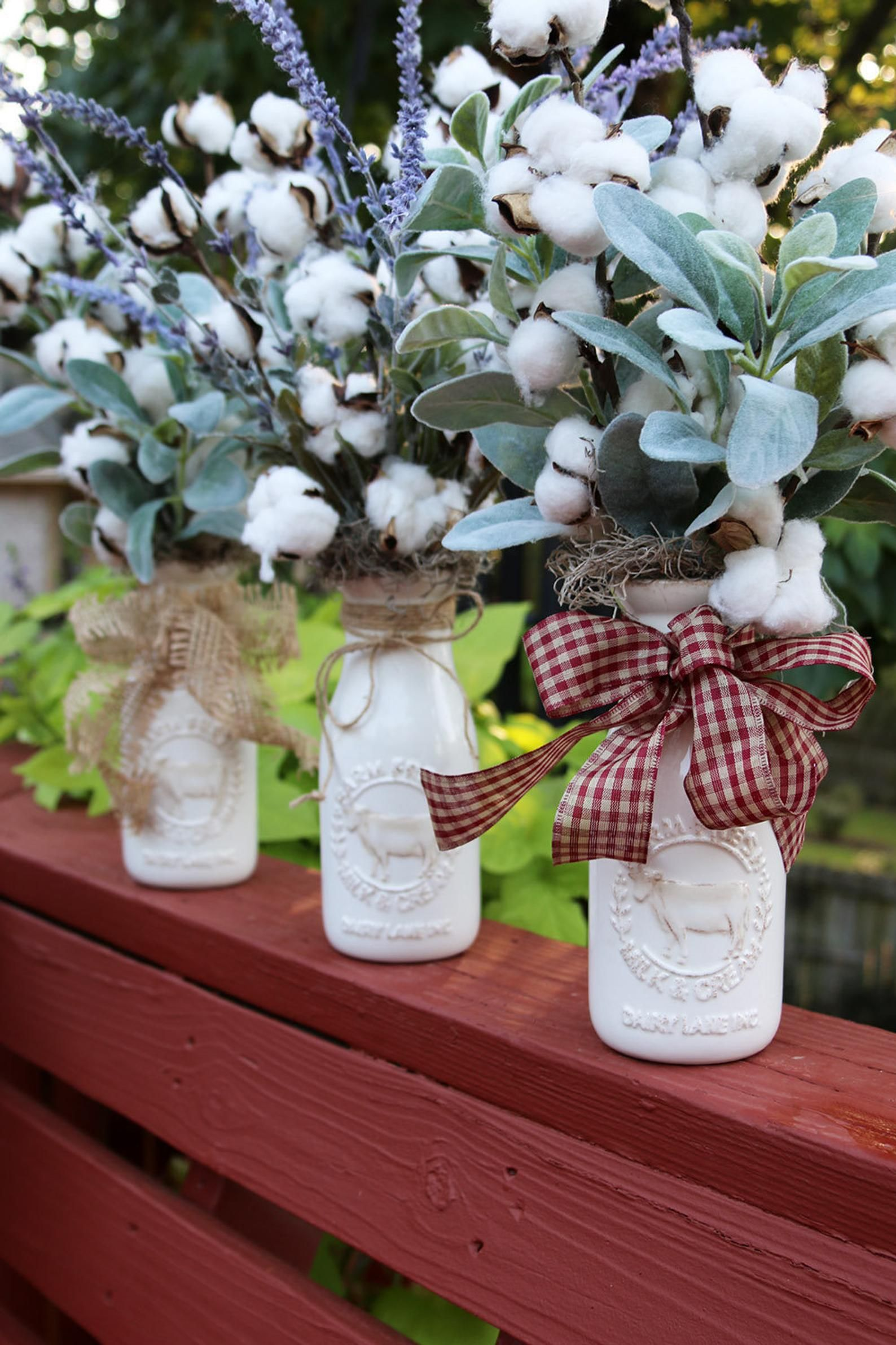 Rustic Country arrangement Cotton centerpiece Farmhouse