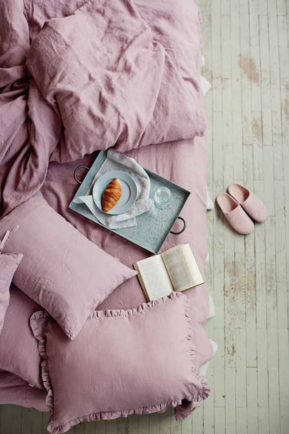 Linen Duvet Cover In Woodrose Dusty Pink Washed Linen Etsy Washed Linen Duvet Cover Linen Duvet Covers Linen Duvet