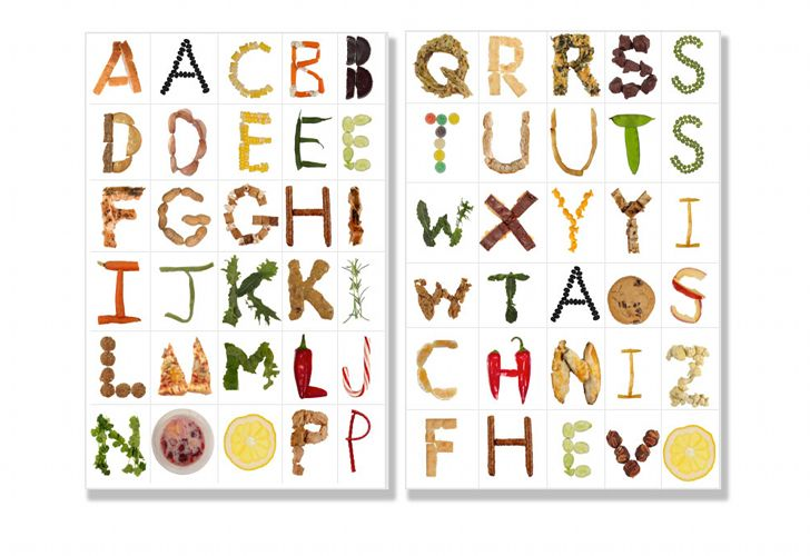 Food font alphabet letters are available to print or use for Cuisine font