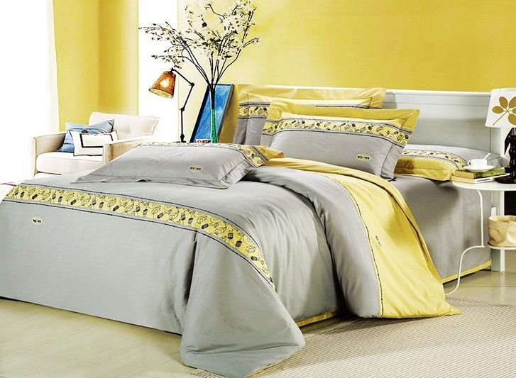 92 86us Romantic Modern Island Vacation Gray And Yellow 4pcs Hotel Bedspreads Bedding Set Queen King Size 100 Combed Cotton B2182 Cotton Sling Cotton Chenil Bedding Sets Uk Yellow Bedding Sets Bed Spreads
