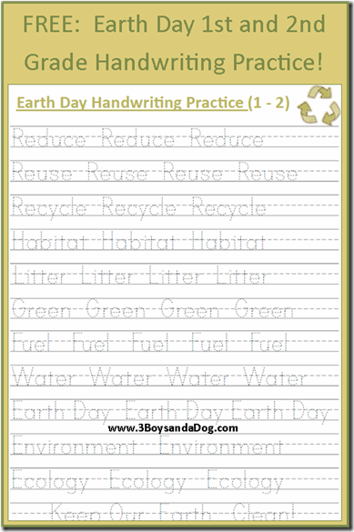 free earth day handwriting printables grades 1 and 2 deals 3 boys and a dog holiday. Black Bedroom Furniture Sets. Home Design Ideas