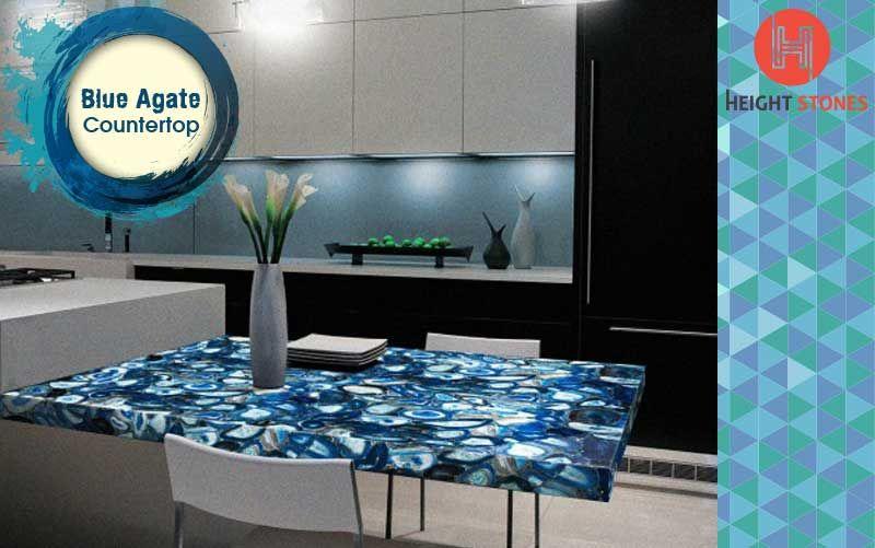 Semi Precious Stone Blue Agate Kitchen Countertop