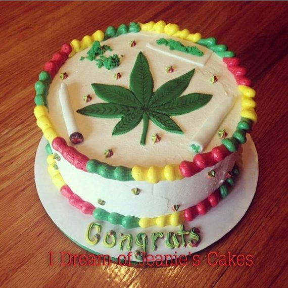 Weed 420 Pot Smoke Birthday Cake Topper by IDreamOfJeaniesCakes | I ...