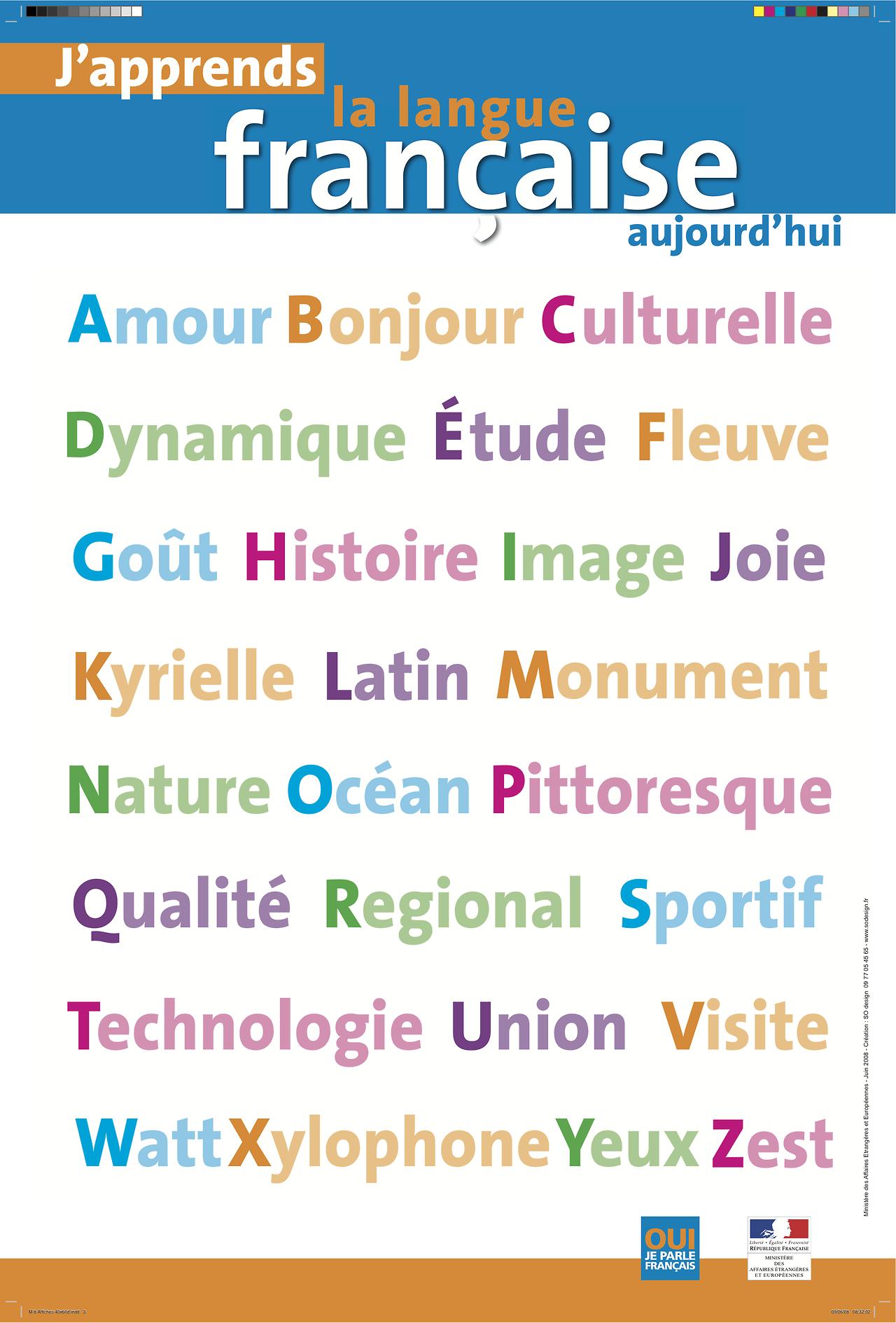 L\'alphabet en français | :: FLE vocabulaire | Pinterest | Schule