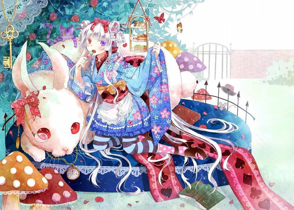 alice in wonderland anime anime girl book bow bunny