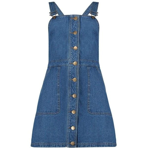 Boohoo Teresa Buttoned Pocket Denim Pinafore Dress (700 TWD) ❤ liked on Polyvore featuring dresses, button dress, pinafore dresses, pocket dress, blue dress and boohoo dresses