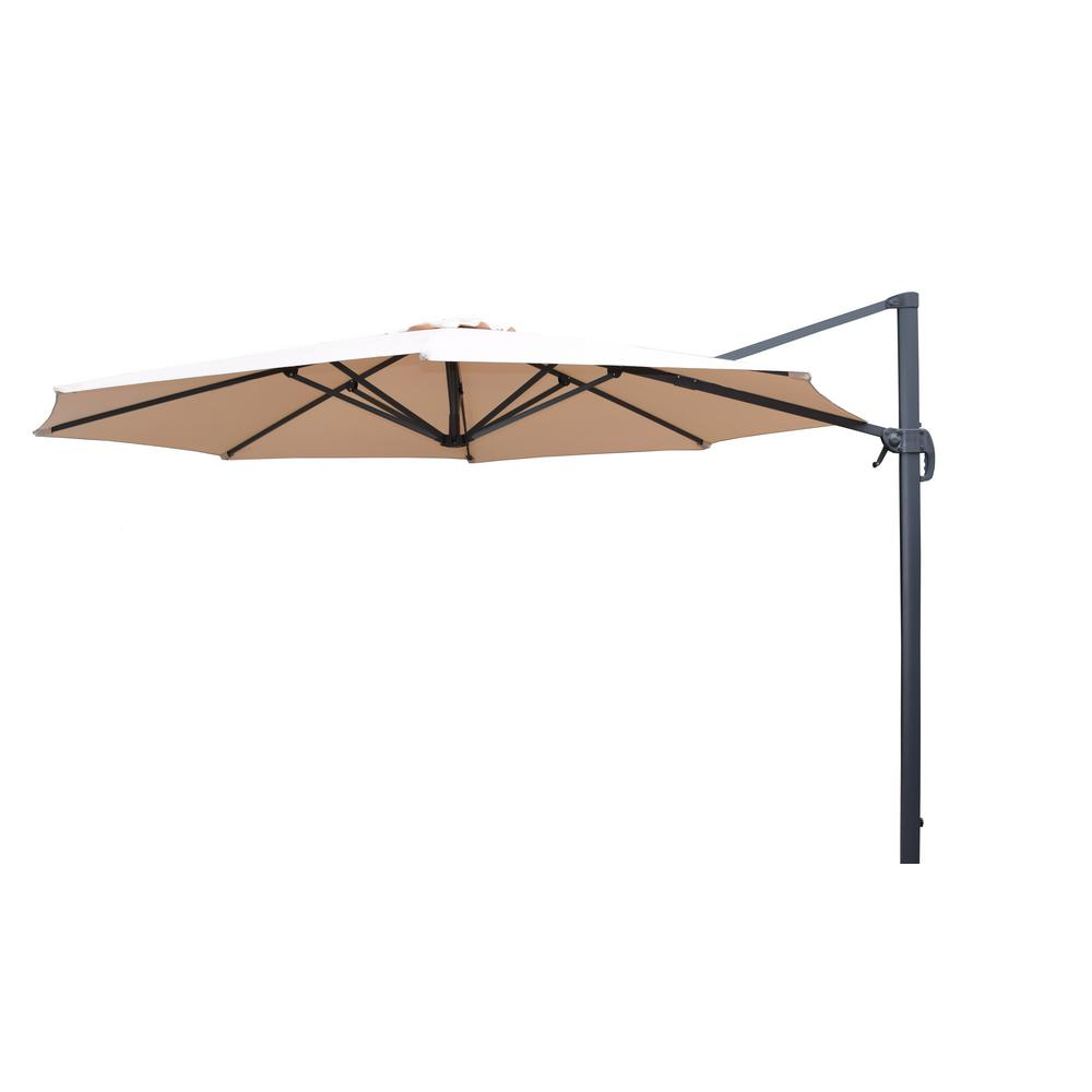 Hampton Bay 11 Ft Offset Led Patio Umbrella In Tan Uxm05201a At The Home Depot Tablet Offset Patio Umbrella Patio Umbrella Outdoor Patio Umbrellas