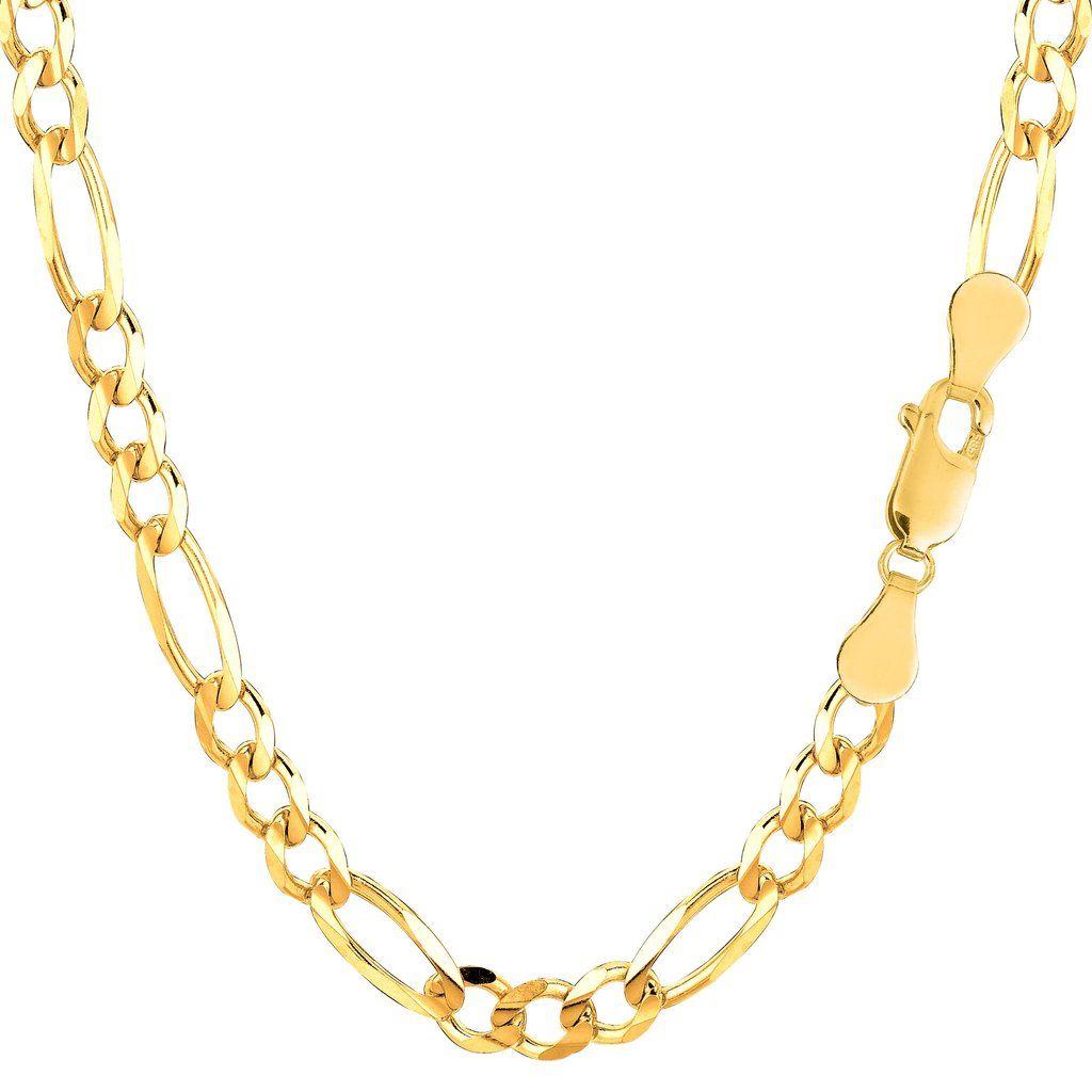 K yellow gold classic figaro chain bracelet width mm length