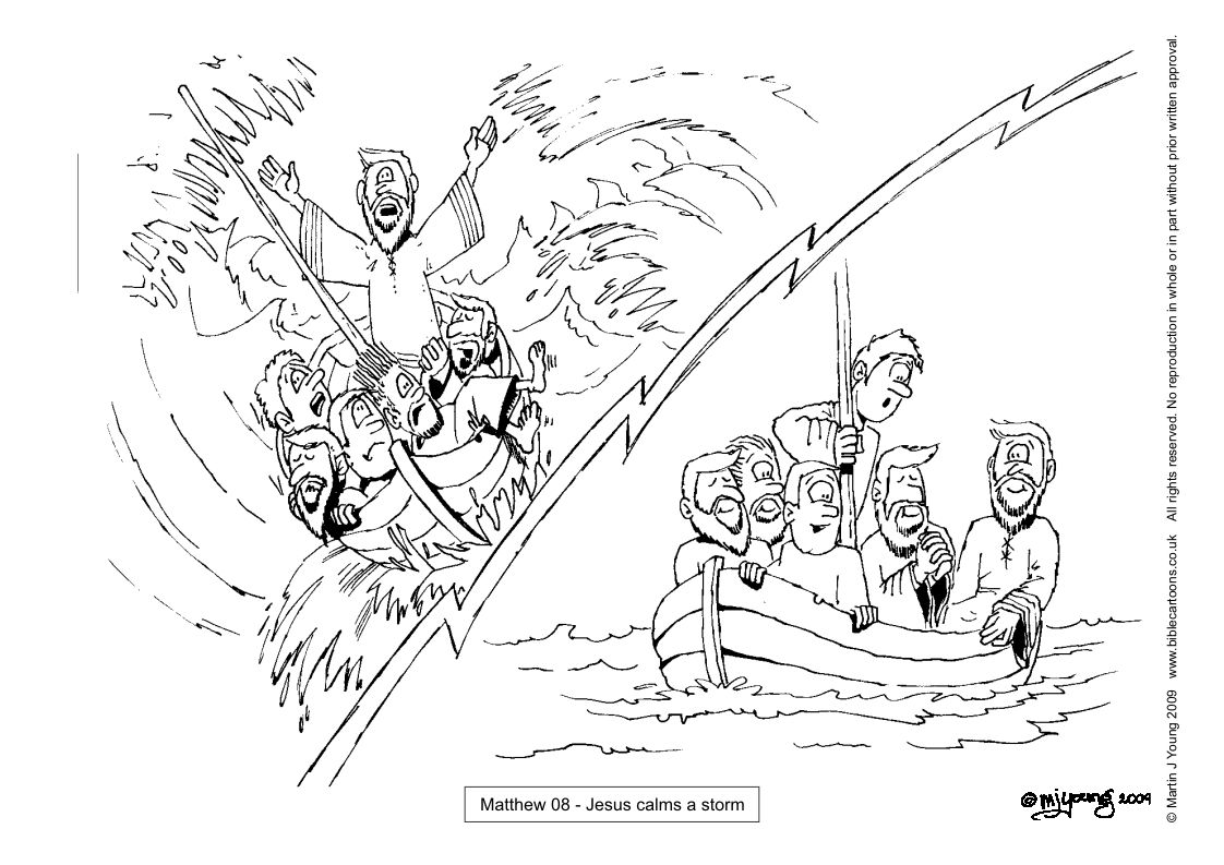 Jesus Calms The Storm Coloring Page Pic 16