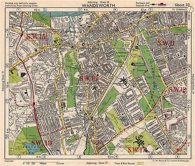 sw london wandsworth e putney wimbledon earlsfield southfields bacon 1948 map