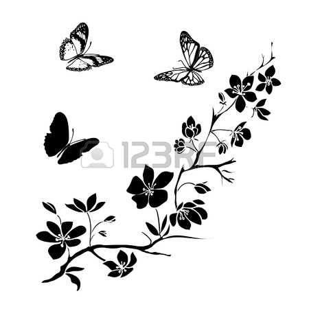 schmetterling zweig kirschblute bluten und schmetterlinge vektor illustration butterflies vector butterfly sakura blossoms gimp erstellen waage