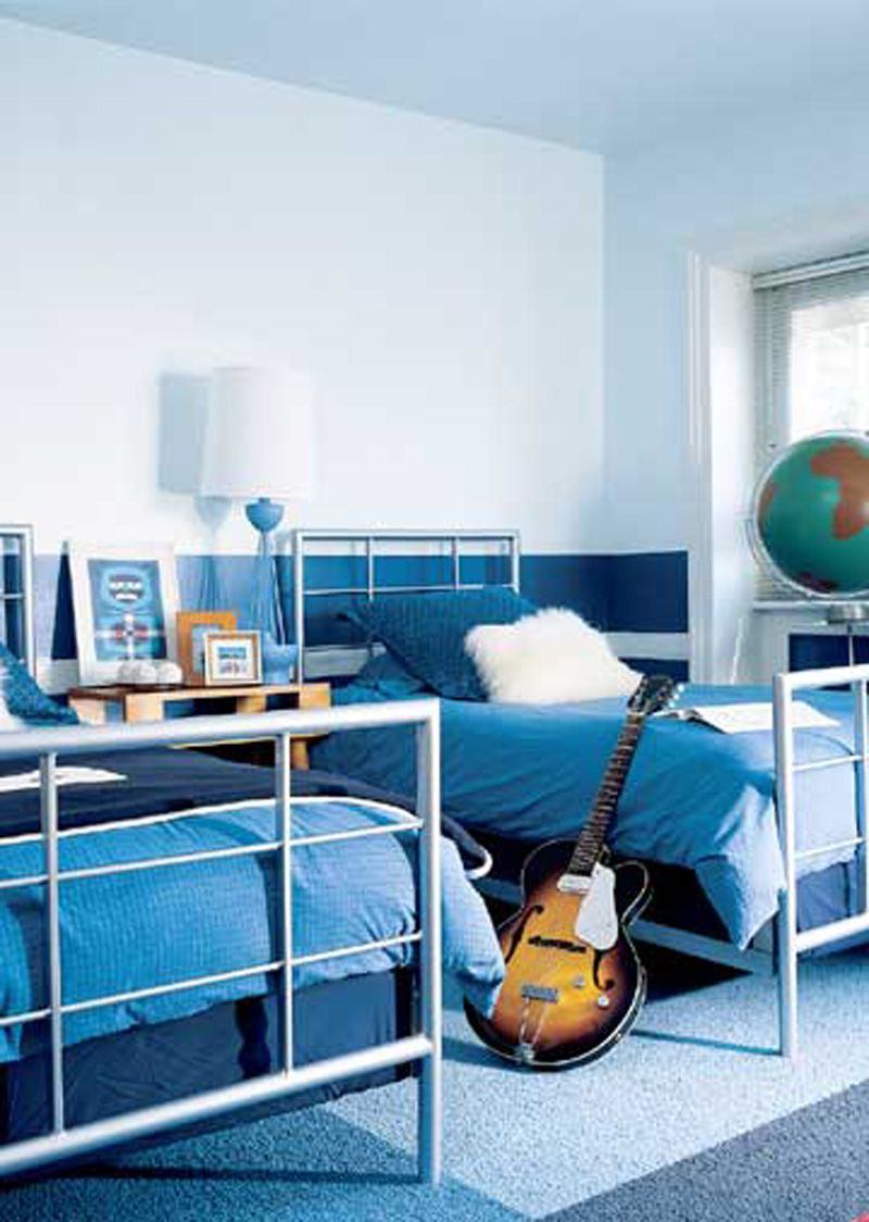 kids bedroom stylish white and blue painted walls shared