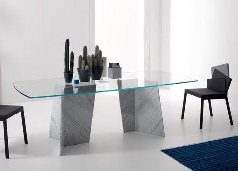 Carrara Double Glass Dining Table Glass Tables Modern