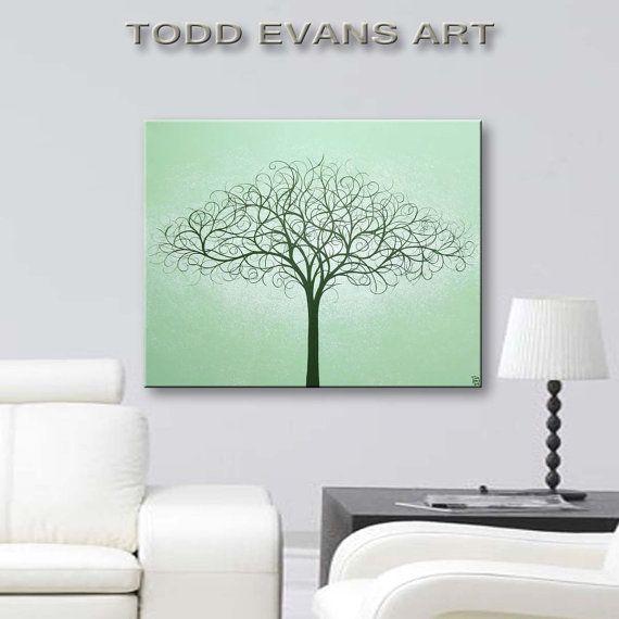 Canvas Art Wall Original Painting Decorative Tree 16 X20 Home Living Decor Light Sage Green Hanging