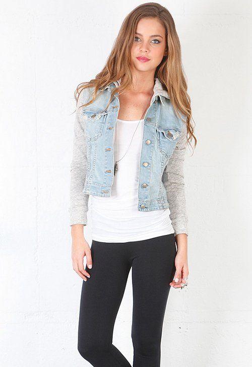 Stephanie Pratt in a Denim Jacket with Sweatshirt Sleeves