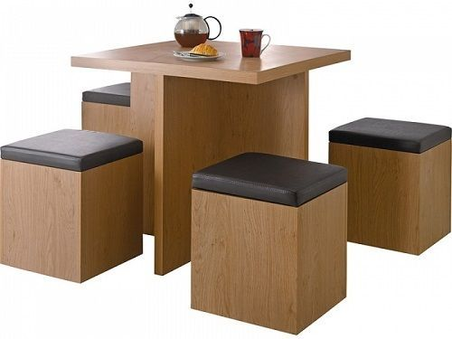 Nice Hygena Bartley Space Saver Dining Table And 4 Storage Stools