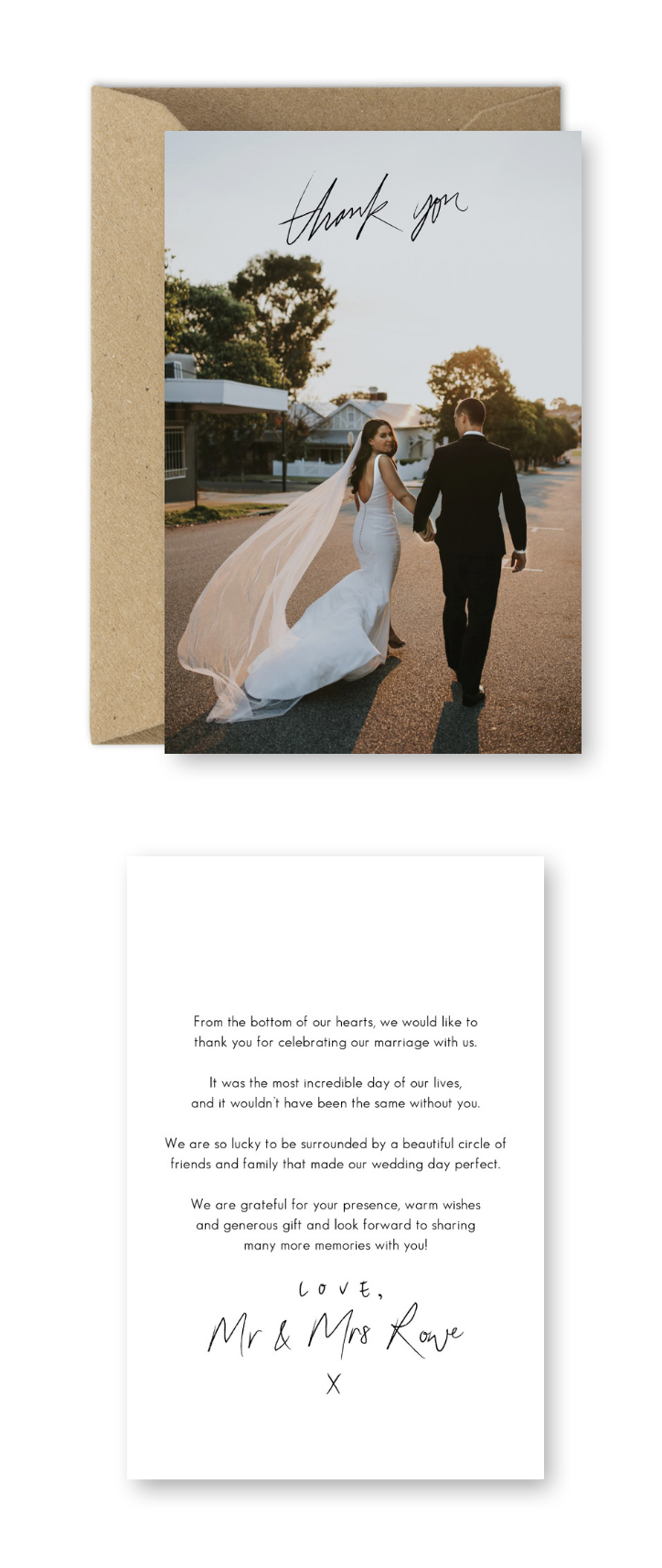 wording examples for your wedding thank you cards