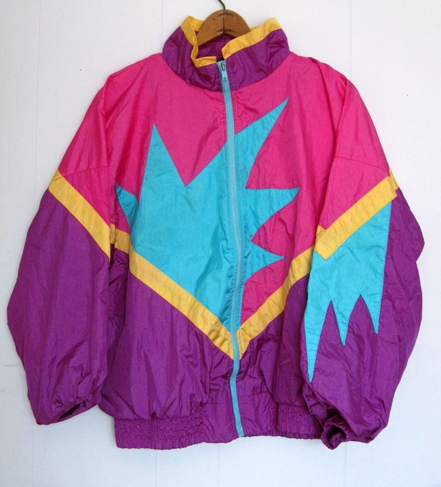 Vintage 80s 90s Geometric Walking Jacket Track Warmup