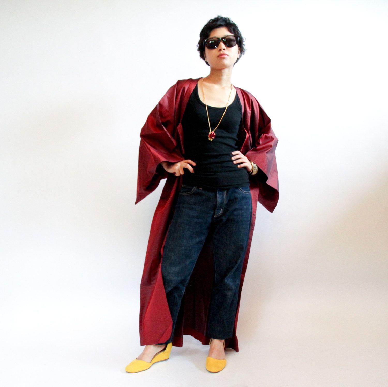 Kimono Jacket Japanese Vintage Michiyuki, Red and Black Striped ...